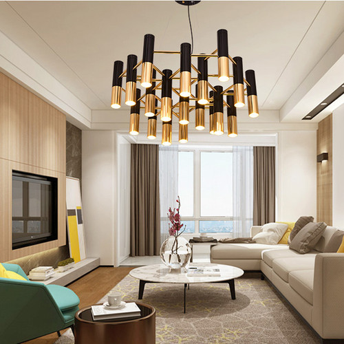This is the scene picture. Post-modern LED Chandelier Light Tube Aluminum Shade Light Living Room from Singapore best online lighting shop horizon lights