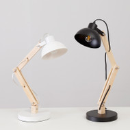 Nordic Style LED Table lamp Flexible Long Wood Arm Aluminum Shade Lamp from Singapore best online lighting shop horizon lights