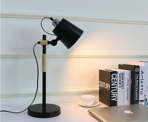 This is the scene picture. Nordic Style LED Table Lamp Metal Wood Shade Philips E27 Bulb Lamp Bedside Study Room from Singapore best online lighting shop horizon lights
