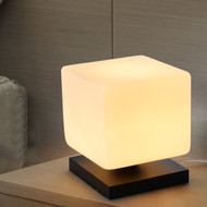 Modern Style LED Table Lamp Cube Glass Shade Wood Base Lamp Bedside Decor from Singapore best online lighting shop horizon lights