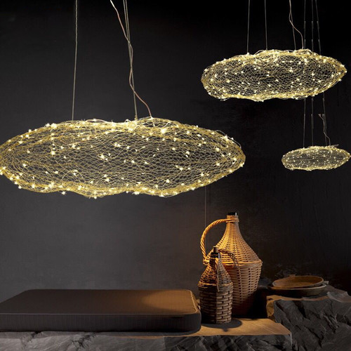 Post Modern Style LED Hanging Light Cloud Shape Woven Metal Lampshade Bedroom Dining Room from Singapore best online lighting shop horizon lights