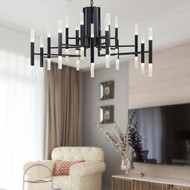 Modern LED Chandelier Light Acrylic Lampshade Metal Tube Light Hotel Lobby Living Room from Singapore best online lighting shop horizon lights