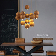 American Style LED Pendant Light Wood Ball Cafe Dining Room Living Room from Singapore best online lighting shop horizon lights