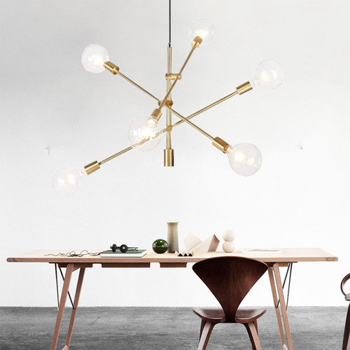 Simple Modern Style Creative Chandelier Light Glass Ball Molecules Long Pipe Hotel Dining Room from Singapore best online lighting shop horizon lights
