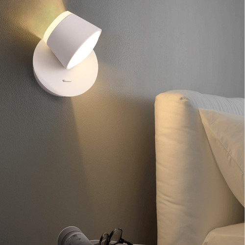 Modern Style LED Wall Light Metal Rotated Shade Minimalism Bedside Resding Light from Singapore best online lighting shop horizon lights