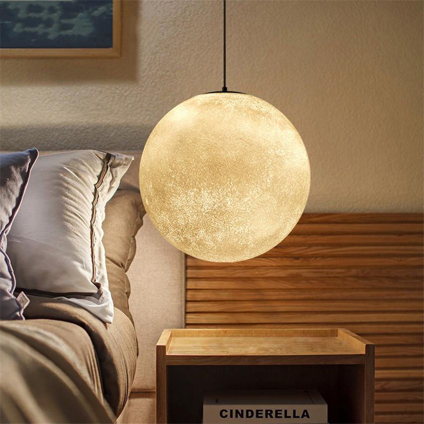 Moon Lights Bedroom: Modern LED Pendant Light Resin Moon Shape Lampshade Light