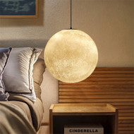 Panorama: this moon shape pendant light, near the sofa, in the living room.