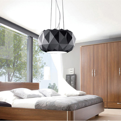 Panorama: modern style LED pendant light, in the bedroom, black.