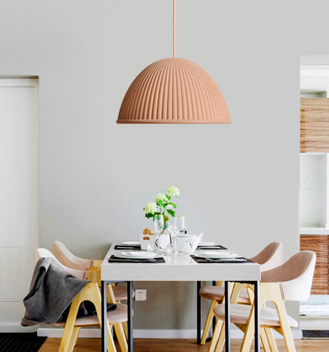 Nordic style LED pendant light in restaurant, color is orange