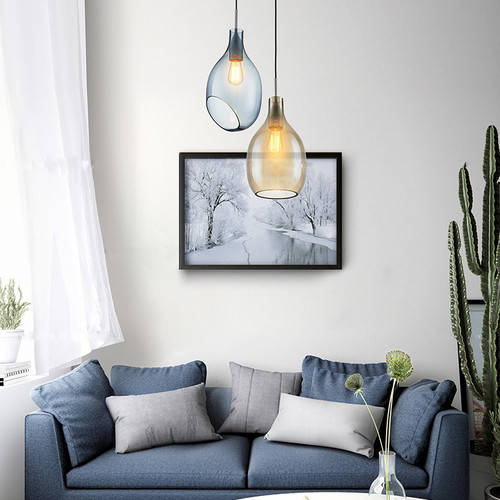 Modern Style LED Hanging Light Glass Shade Three Colors Available from Singapore best online lighting shop horizon lights