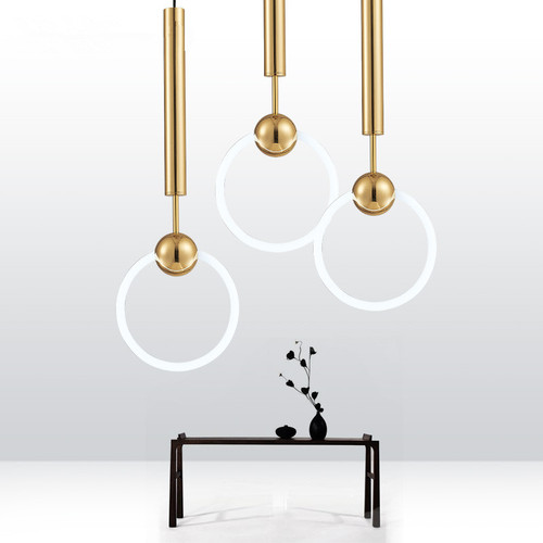 Modern Style LED Ring Suspension hanging Light Gold Metal Fixture from Singapore best online lighting shop horizon lights