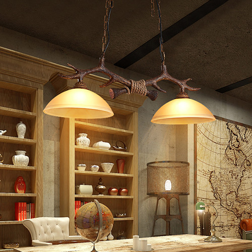 Nordic Style LED Pendant Light Glass Lampshade Resin Antlers Restaurant Dining Room Decor from Singapore best online lighting shop horizon lights