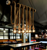 Hemp Rope Lamp LED Pendant Lights Edison E27 Bulbs Retro Countryside Style from Singapore best online lighting shop horizon lights