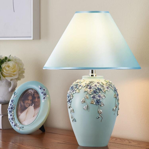 European Style LED Table Lamp Fabric Shade Flower Decor Lamp Body Dimmable from Singapore best online lighting shop horizon lights
