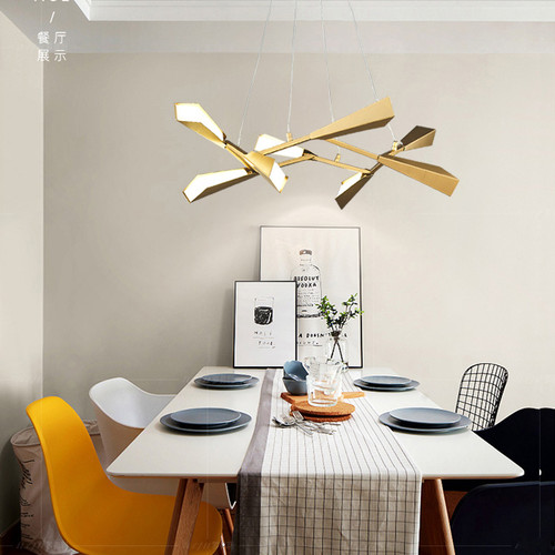 Modern Chandelier LED Lighting Bamboo Shape Gold Metal Shade from Singapore best online lighting shop horizon lights Dining Room