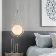 LED Pendant Light Milk Glass Ball Copper Shade Modern style from Singapore best online lighting shop horizon lights