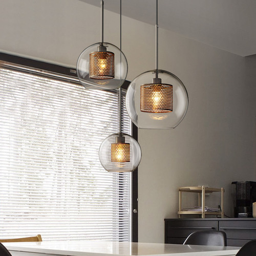LED Glass Pendant Light Silver Copper Color  metal Shade Modern style from Singapore best online lighting shop horizon lights