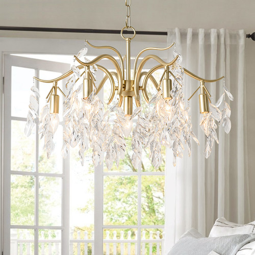 Crystal Leaves LED Chandelier Light Metal Body European Style from Singapore best online lighting shop horizon lights