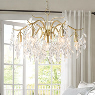 Crystal Leaves LED Chandelier Light Metal Body European Style from Singapore best online lighting shop horizon lights Bedroom