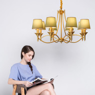 LED Cloth Shade Chandelier Light Metal Body American Style from Singapore best online lighting shop horizon lights