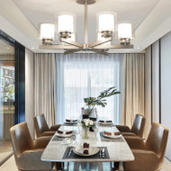 LED Glass Covers Chandelier Light Metal Body American Style from Singapore best online lighting shop horizon lights Dining Room