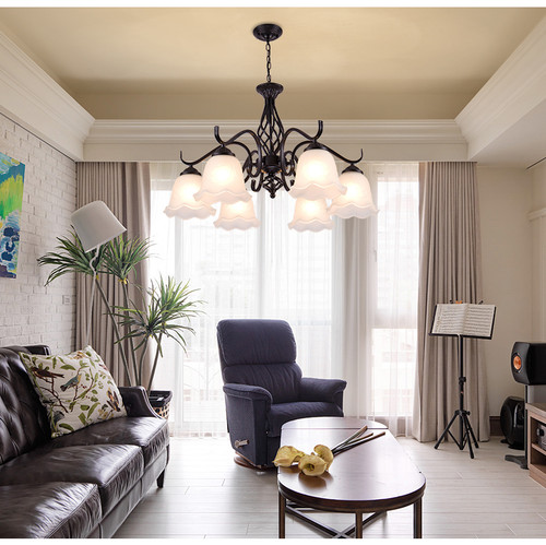 American Style LED Chandelier Light Metal Body Glass Kapok Shade Living Room Decor from Singapore best online lighting shop horizon lights