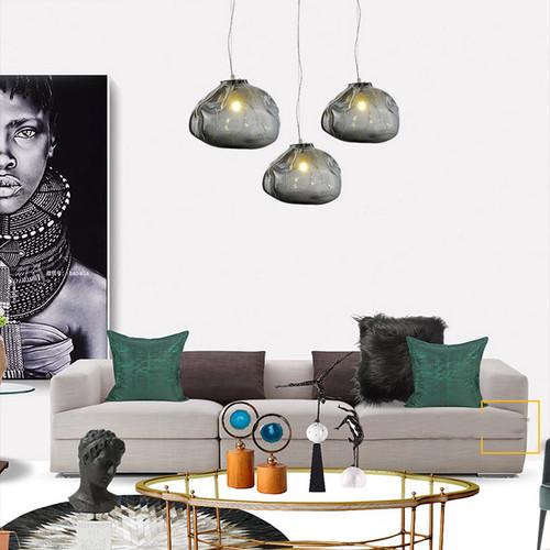 LED Texture Glass Pendant Light irregularity Lampshade Modern Style from Singapore best online lighting shop horizon lights living room