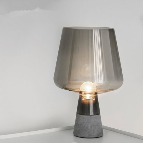 LED Table Lamp Cement Base Glass Lampshade Modern Style from Singapore best online lighting shop horizon lights