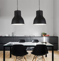 Modern LED Pendant Light Metal Shade Big Black Simple Dining Room Bedside Decor from Singapore best online lighting shop horizon lights