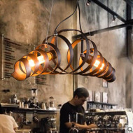 LED Spring Ring Pendant Light Metal Lampshade Retro Style