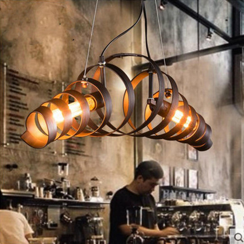 Retro Style LED Pendant Light Metal Spring Ring Lampshade Living Room Lobby Decor from Singapore best online lighting shop horizon lights dining room
