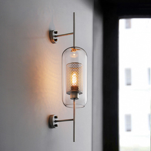 LED Wall Light Modern Clear Glass Shade Scones for Bedroom Bedsides Loft Retro Iron Fixture long-type