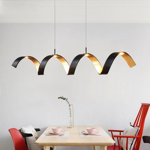 Modern Style LED Pendant Light Wave Strip Aluminum Creative Dining Room Cafe Bar from Singapore best online lighting shop horizon lights