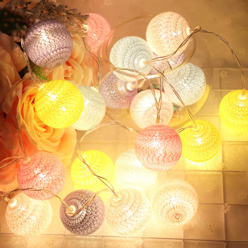 Rainbow Cotton Ball string LED Fairy Lights as Christmas ornaments (style a)