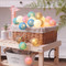 Rainbow Cotton Ball string LED Fairy Lights as Christmas ornaments (basket)