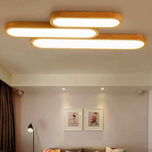 LED Ceiling Light Long Wood 3 Combination Living Room Decor from Singapore best online lighting shop horizon lights