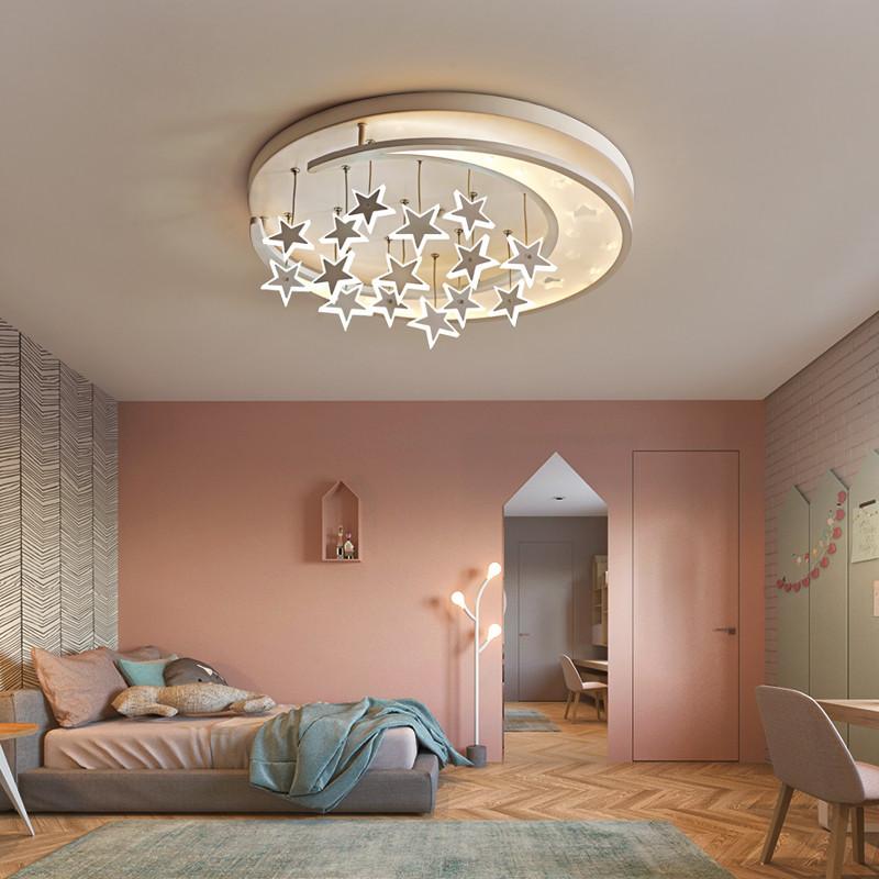 Modern Led Ceiling Light Iron Pmma Star Moon Children Room Bedroom Decor