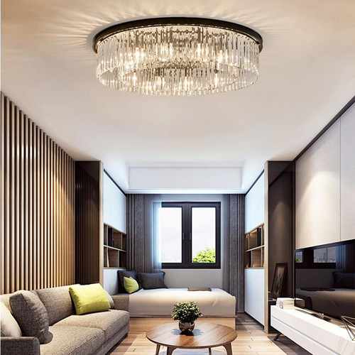 American style LED Ceiling Light Crystal Round Shade Iron Living Room Bedroom from Singapore best online lighting shop horizon lights