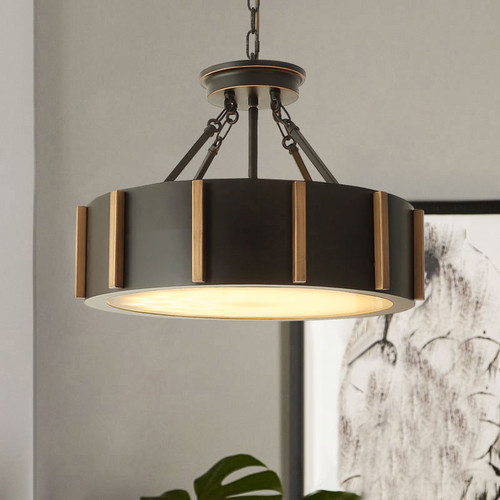 LED Round Drum Pendant Light Retro Metal Shade Living room Bedroom Decor from Singapore best online lighting shop horizon lights