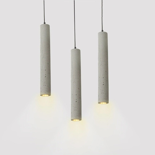 Modern Simple Industrial Style LED Pillar Pendant Light Cement Shade Shop Decor from Singapore best online lighting shop horizon lights