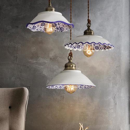 Retro Style LED Hanging Light Porcelain Lampshade Bedroom Dining Room from Singapore best online lighting shop horizon lights