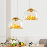 FuLuShou Prosperity Mountain, Chinese Glass Shade LED Pendant Light for Feng Shui and Modern (gold)