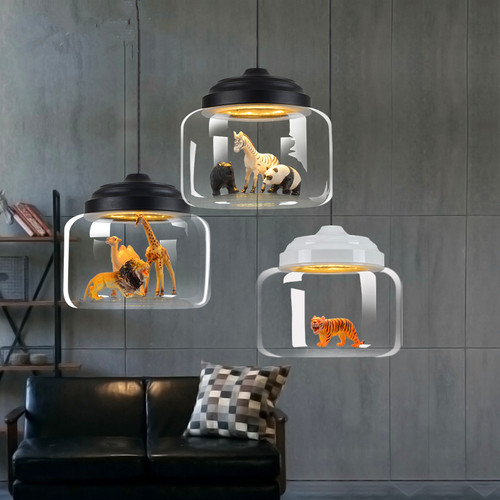 LED Pendant Light Creative Glass Shade Animals Light Children's Bedroom from Singapore best online lighting shop horizon lights
