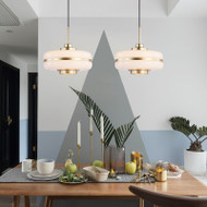 LED Pendant Light Opaline Glass Gold Metal Frame Nordic Classic Simple Bedroom Light from Singapore best online lighting shop horizon lights dining room