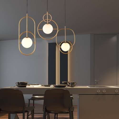 LED Pendant Light Line Glass Ball Iron Shade Modern Simple Fashion Light from Singapore best online lighting shop horizon lights dining room