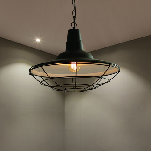 LED Pendant Light Black Metal Shade Industrial Retro style from Singapore best online lighting shop horizon lights