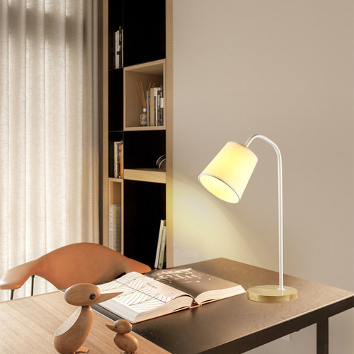 Simple Nordic Style LED Table Lamp Wood Base Metal Stand Cloth Shade Bedroom Study Room