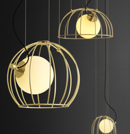 LED Pendant Light Gold Birdcage Glass Ball Restaurants Dining room Decor from Singapore best online lighting shop horizon lights