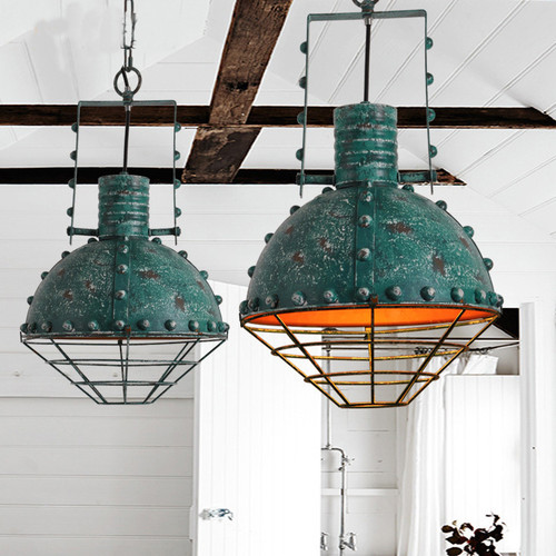 LED Retro Pendant Light Bronze Ware Green Shade Restaurants Workshop Decor from Singapore best online lighting shop horizon lights
