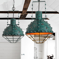 LED Retro Pendant Light Bronze Ware Green Shade Restaurants Workshop Decor from Singapore best online lighting shop horizon lights image-1